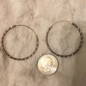 Vintage Silver Etched Hoops